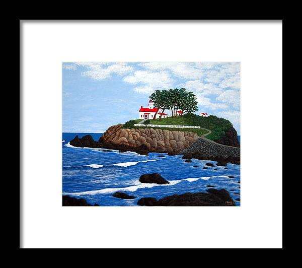 Lighthouse Paintings Framed Print featuring the painting Battery Point Lighthouse by Frederic Kohli