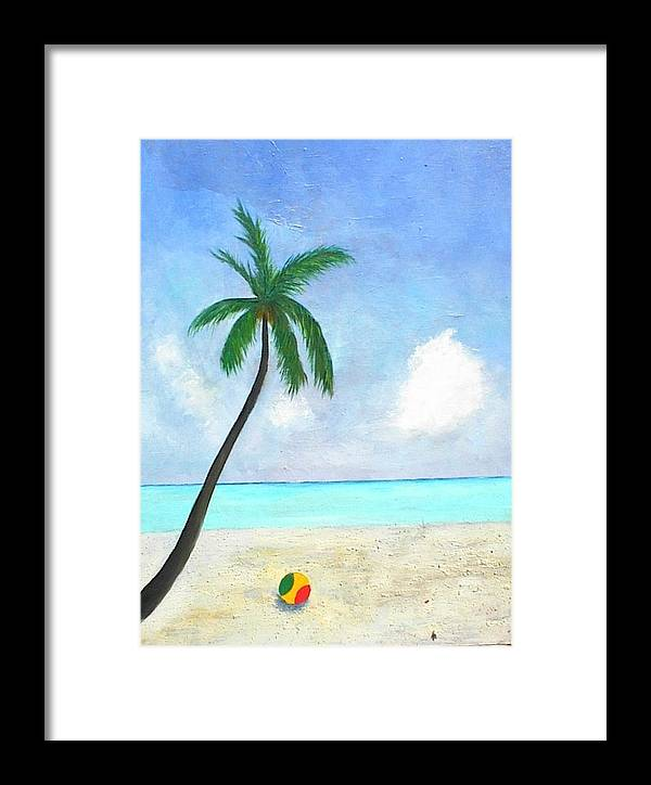 Beach Ball Framed Print featuring the painting Beach Ball by Paul O Shaskan