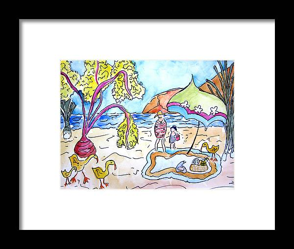 Beach Framed Print featuring the painting Beach Picnic by Suzanne Stofer