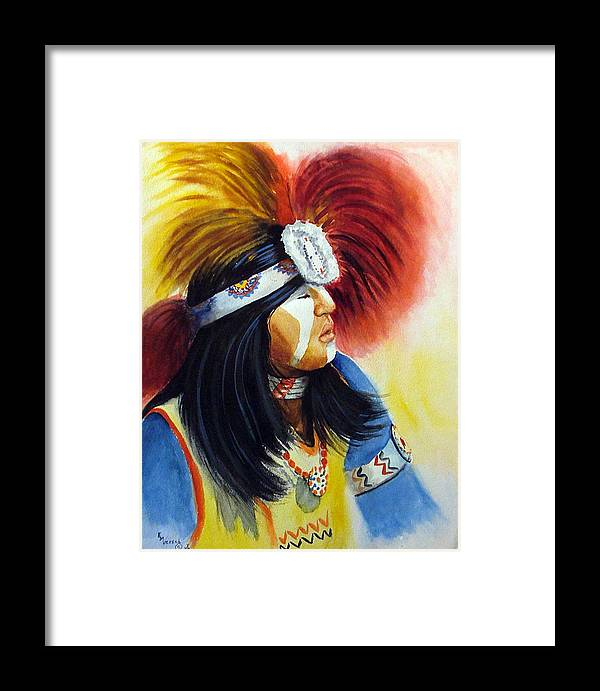 A Pow Wow Dancer Framed Print featuring the painting Beads And Feathers by Esther Marie Versch