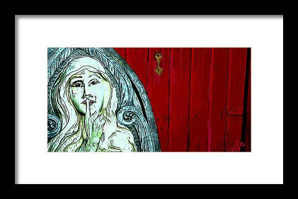 Door Framed Print featuring the painting Behind Closed Doors by Mary Sonya Conti