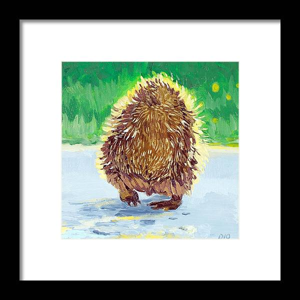 Hedge Hog Framed Print featuring the painting Behind The Hedge by Debbie Beukema
