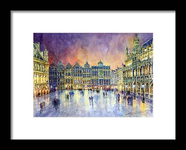 Watercolor Framed Print featuring the painting Belgium Brussel Grand Place Grote Markt by Yuriy Shevchuk