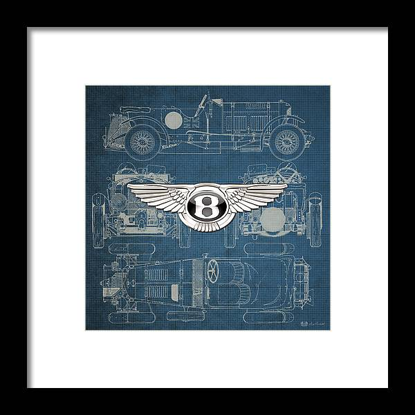 �wheels Of Fortune� By Serge Averbukh Framed Print featuring the photograph Bentley - 3 D Badge Over 1930 Bentley 4.5 Liter Blower Vintage Blueprint by Serge Averbukh