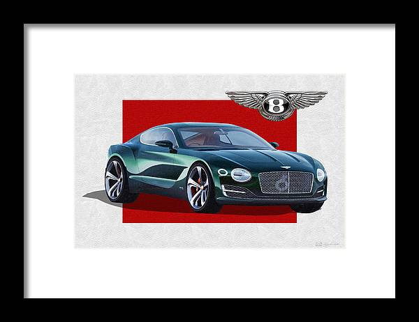 �bentley� Collection By Serge Averbukh Framed Print featuring the photograph Bentley E X P 10 Speed 6 with 3 D Badge by Serge Averbukh