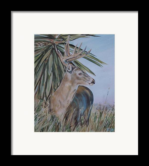 Animal Framed Print featuring the painting Berry Buck by Diann Baggett
