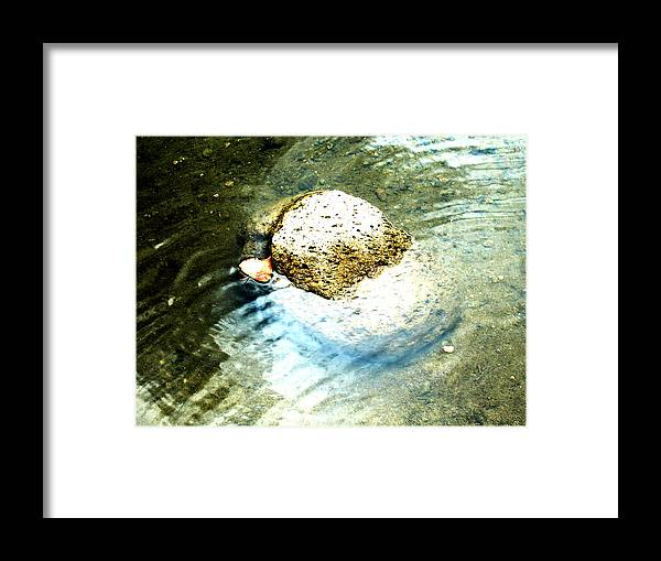 Rocks Framed Print featuring the painting Beside Still Waters by Tim Tanis