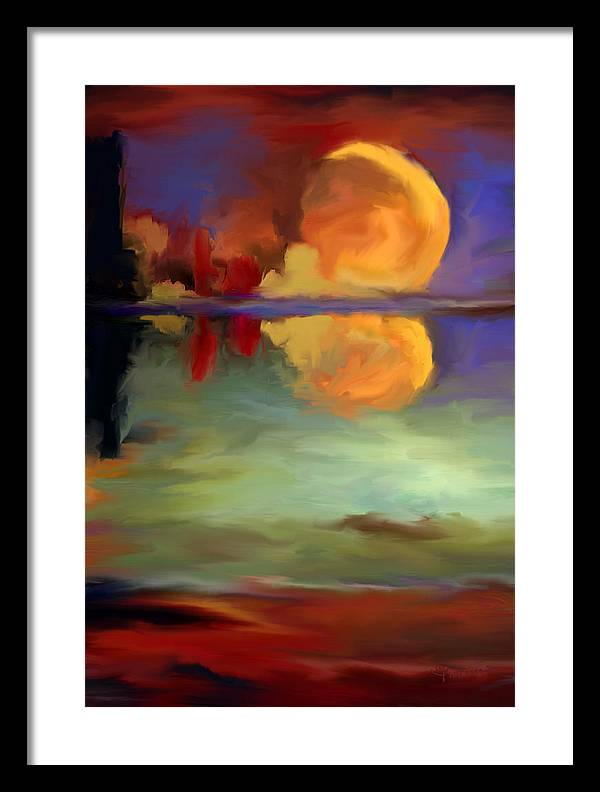 Pond Framed Print featuring the painting Beyond Sunset Pond by Maria Pureza Escano