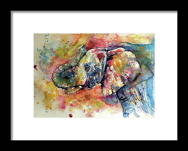 Elephant Framed Print featuring the painting Big colorful elephant by Kovacs Anna Brigitta