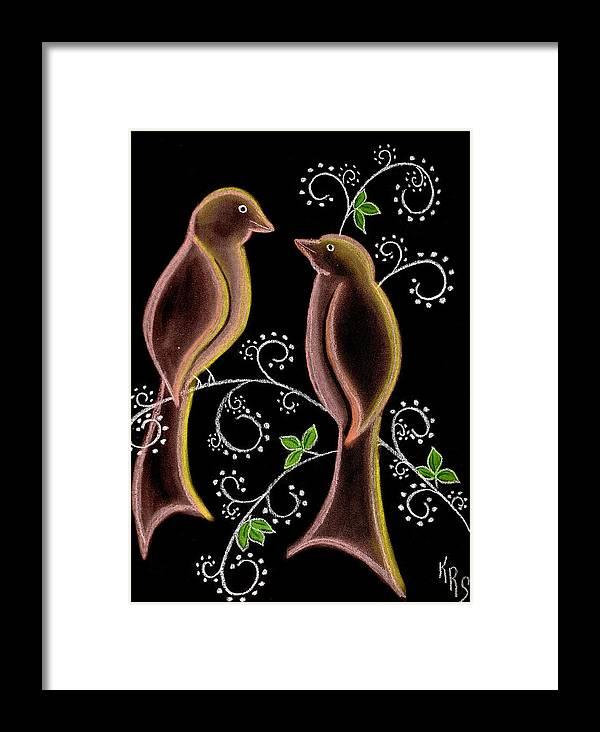 Bird Framed Print featuring the drawing Bird Doodle by Karen R Scoville