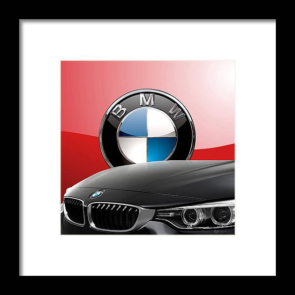 �auto Badges� Collection By Serge Averbukh Framed Print featuring the photograph Black B M W - Front Grill Ornament and 3 D Badge on Red by Serge Averbukh