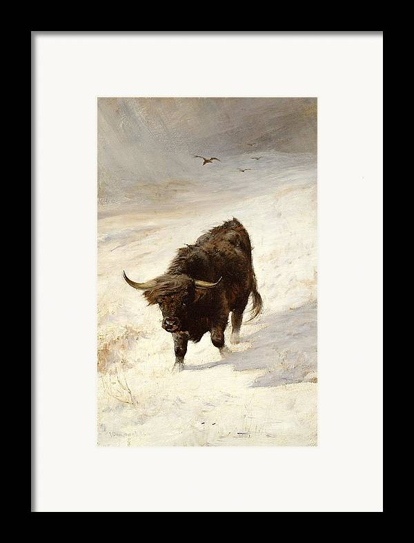 Black Beast Wanderer By Joseph Denovan Adam (1842-96) Framed Print featuring the painting Black Beast Wanderer by Joseph Denovan Adam