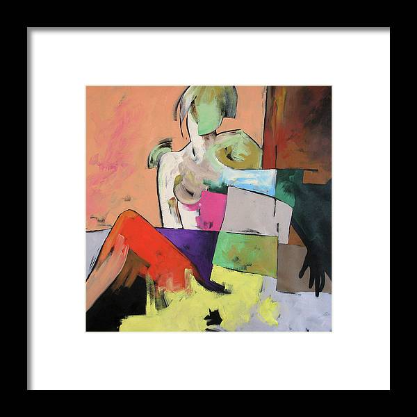 Original Painting Framed Print featuring the painting Black Glove by Linda Monfort