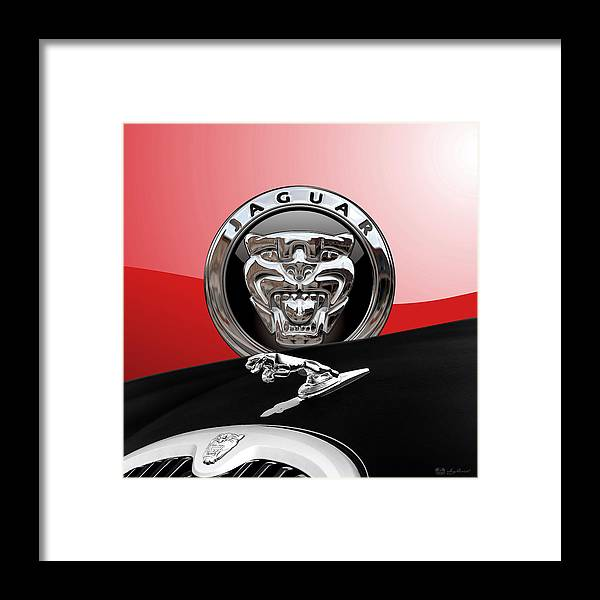 'auto Badges' Collection By Serge Averbukh Framed Print featuring the photograph Black Jaguar - Hood Ornaments and 3 D Badge on Red by Serge Averbukh