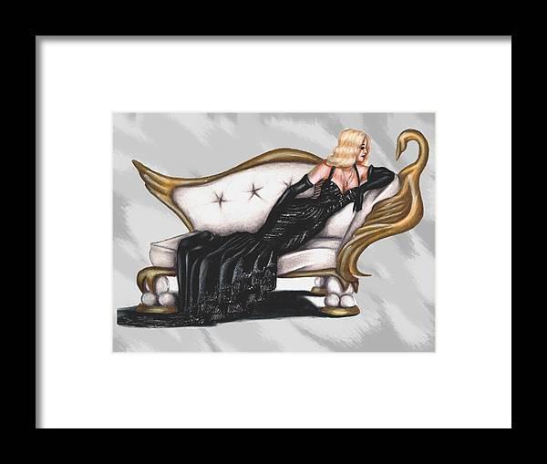 Woman Framed Print featuring the digital art Black Swan by Scarlett Royal
