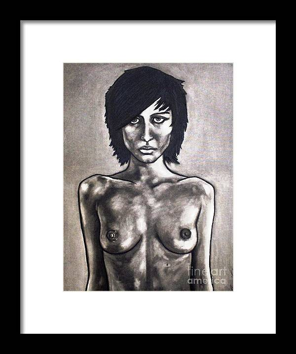 Nude Framed Print featuring the painting Black by Thomas Valentine