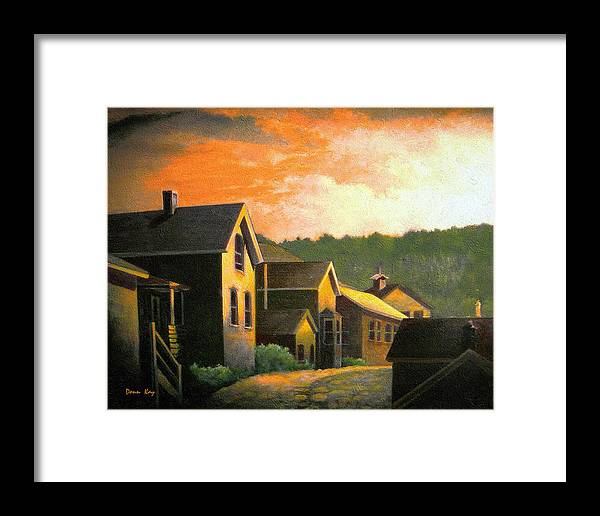 Colorado Mountains Old Houses Sunset New Mexico Sky Giclee Print Framed Print featuring the painting Blackhawk Colorado Sunset by Donn Kay