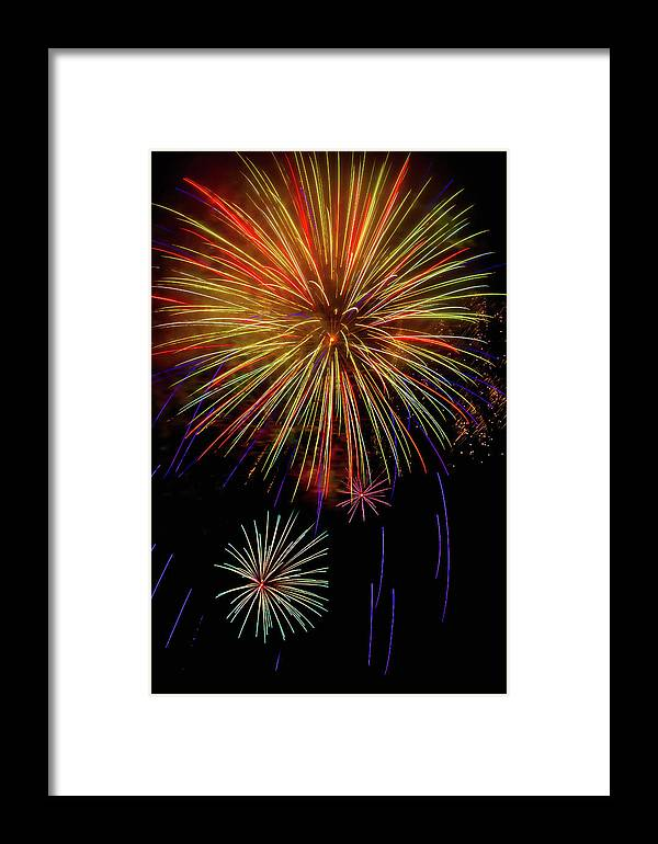 Dazzling Framed Print featuring the photograph Blooming Fireworks by Garry Gay