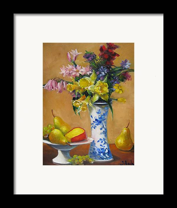 Still Life Framed Print featuring the painting Blue And White Vase by Susan Jenkins