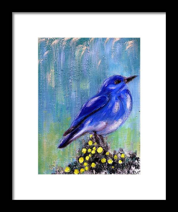 Nature Framed Print featuring the painting Blue bird by Joseph Ferguson