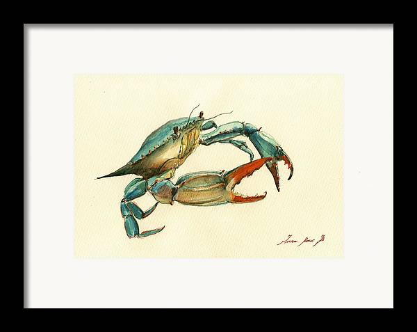 Blue Crab Painting Framed Print By Juan Bosco