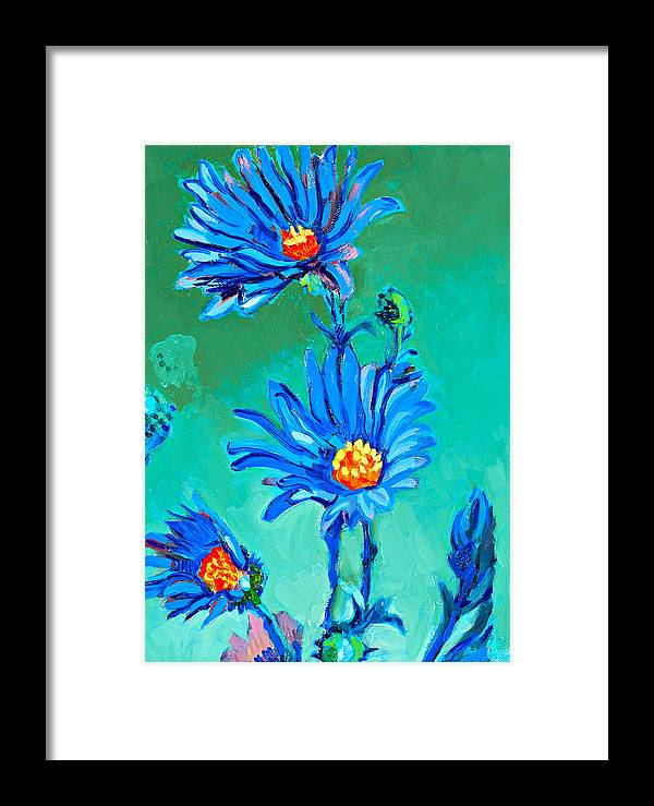 Daisies Framed Print featuring the painting Blue Daisies by Debbie Beukema