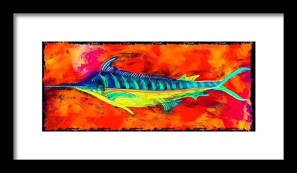 Blue Marlin Art Framed Print featuring the painting Blue Marlin by Barry Knauff