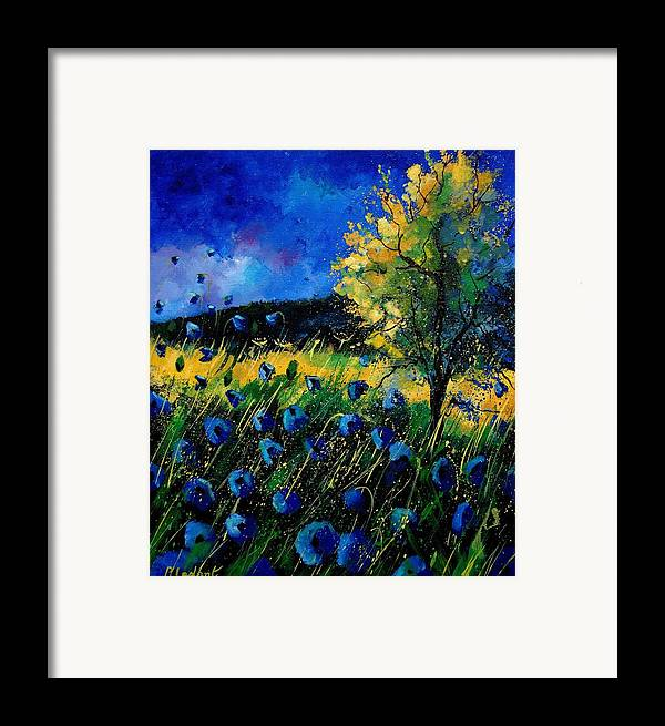 Poppies Framed Print featuring the painting Blue Poppies by Pol Ledent