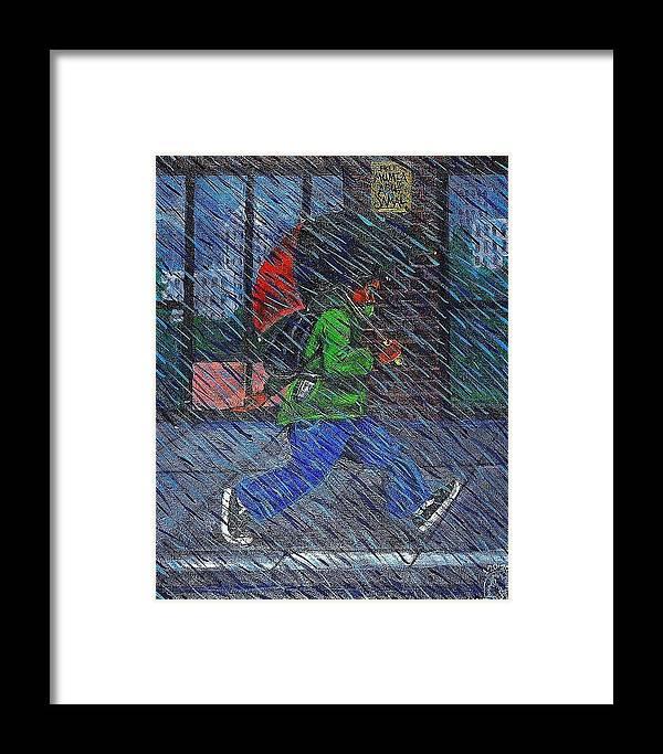Malik Seneferu Framed Print featuring the painting Blue Rain by Malik Seneferu