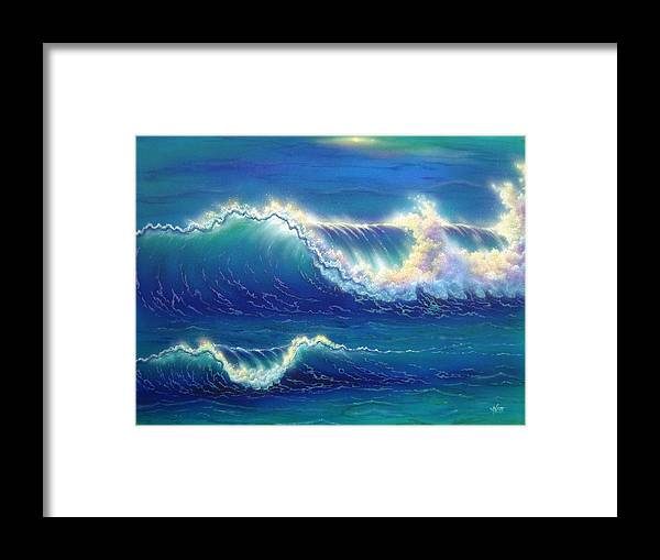 Blue Framed Print featuring the painting Blue Thunder by Angie Hamlin