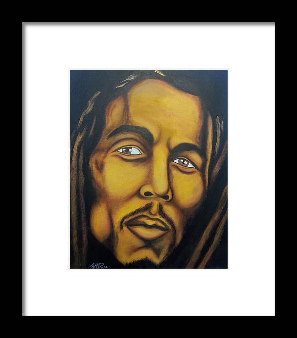 Bob Framed Print featuring the painting Bob Marley by Brian Doss