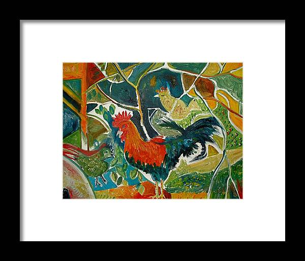 Cockerel Framed Print featuring the painting Bonjour Ma Jollie by Mike Shepley DA Edin