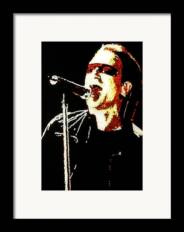 U2 Framed Print featuring the painting Bono by Grant Van Driest