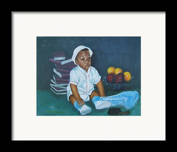 Child Framed Print featuring the painting Books And Fruit by Howard Stroman