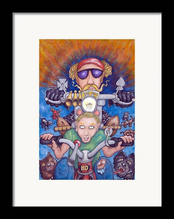 Tricycle Framed Print featuring the painting Born To Ride by Eddie Sargent