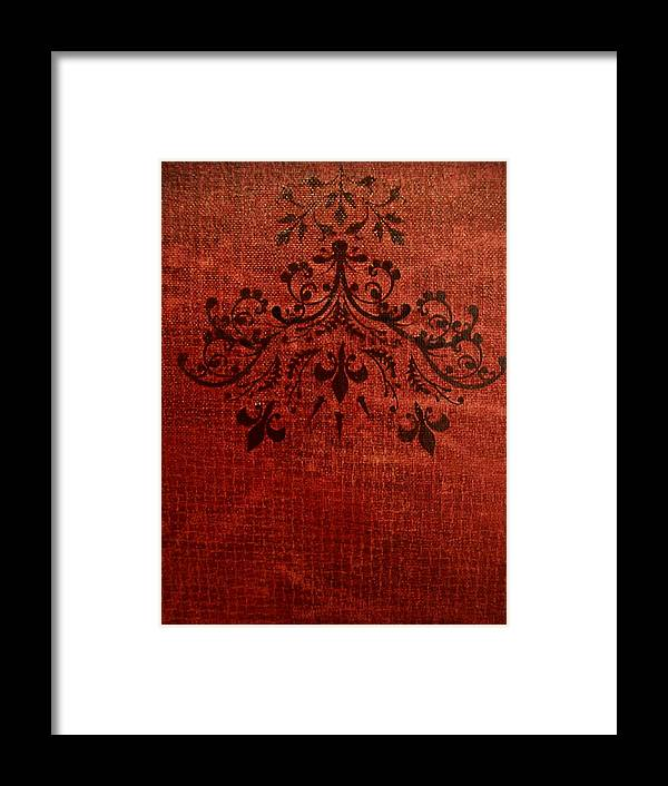Red Framed Print featuring the painting Boudoir Two by Laurette Escobar