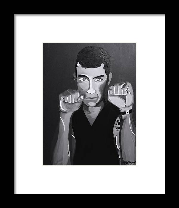 Boxer Framed Print featuring the painting Boxer Monotone by Misty VanPool