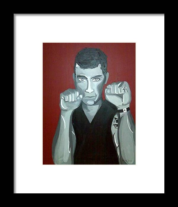 Boxer Framed Print featuring the painting Boxer Sees Red by Misty VanPool