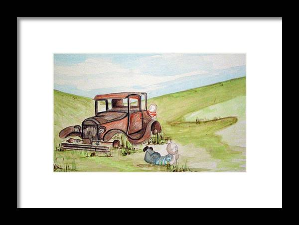 Boyhood Framed Print featuring the painting Boys Being Boys by Tammera Malicki-Wong