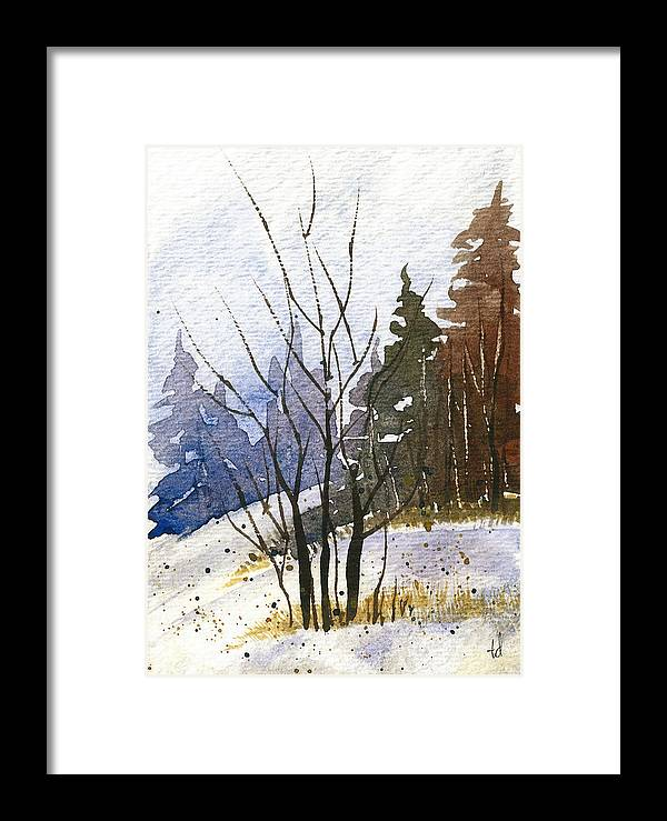 Snow Framed Print featuring the painting Branches by Tonya Doughty
