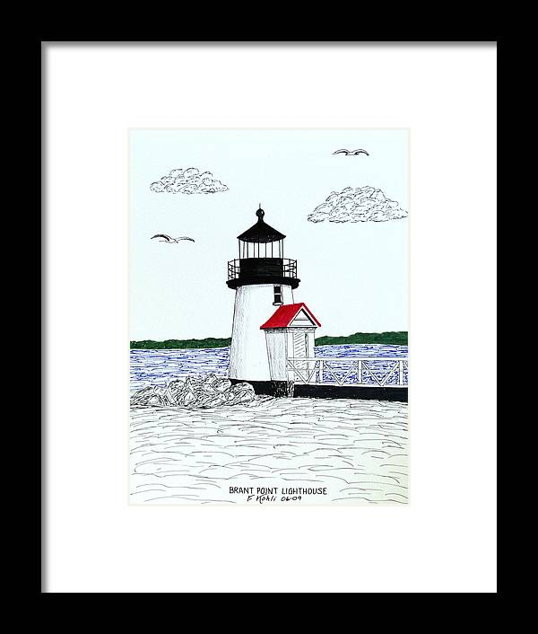 Pen And Ink Lighthouse Drawings Framed Print featuring the drawing Brant Point Lighthouse by Frederic Kohli