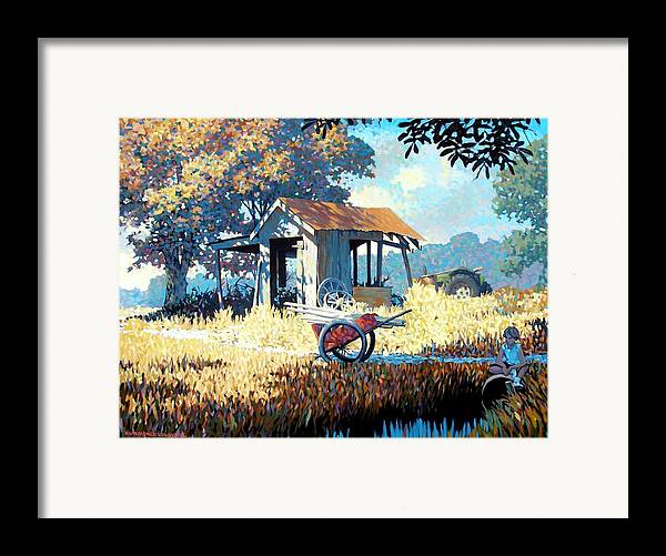 Cart Framed Print featuring the painting Breaktime by Kevin Lawrence Leveque
