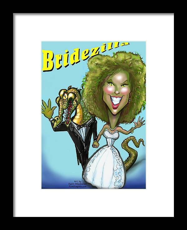 Bridezilla Framed Print featuring the greeting card Bridezilla by Kevin Middleton