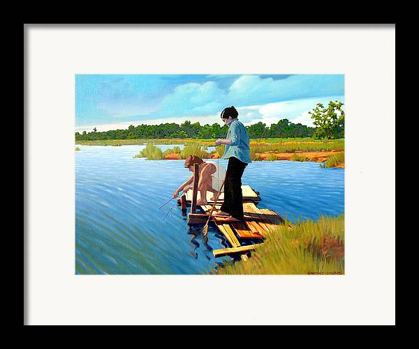 Water Framed Print featuring the painting Bring The Bucket by Kevin Lawrence Leveque