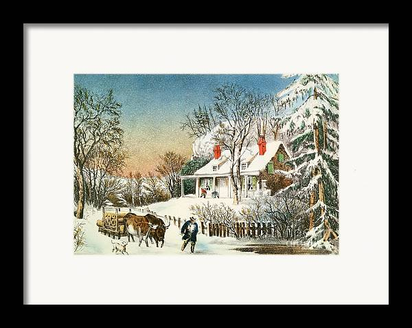 Bringing Framed Print featuring the painting Bringing Home The Logs by Currier and Ives