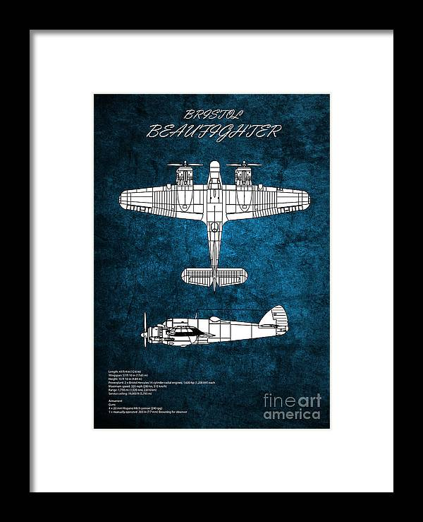 Beaufighter Framed Print featuring the digital art Bristol Beaufighter by J Biggadike