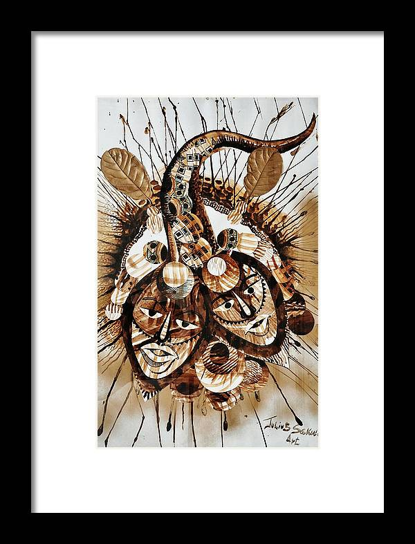 African Art Framed Print featuring the mixed media Brothers At War by Julius Sakwa