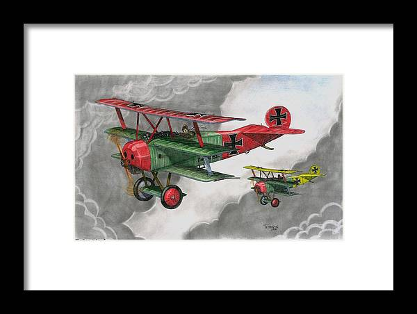 Aircraft Framed Print featuring the drawing Brothers In Arms by Trenton Hill