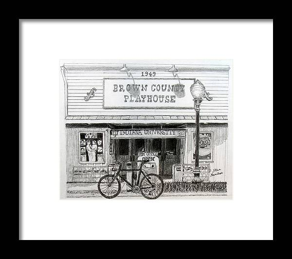 Bicycle Framed Print featuring the drawing Brown County Playhouse by Stan Hamilton