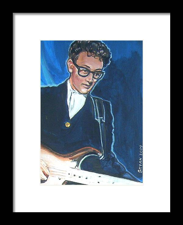 Buddy Holly Framed Print featuring the painting Buddy Holly by Bryan Bustard